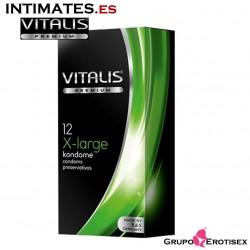 x-large · 12 Preservativos extra largos · Vitalis