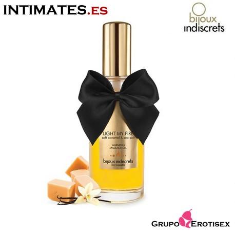 """Light my Fire Caramelo · Aceite de masaje efecto calor de Bijoux indiscrets  que puedes adquirir en intimates.es """"Tu Personal Shopper Erótico Online"""""""