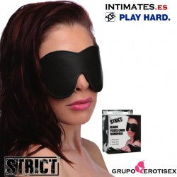 Black Fleece Lined Blinfold · Antifaz de cuero · Strict