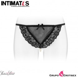 Katia · Tanga negro con perlas nacaradas · Fashion Secret