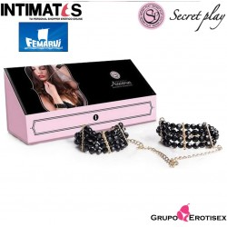 Esposas con muñequeras de perlas negras acrílicas · Secret Play