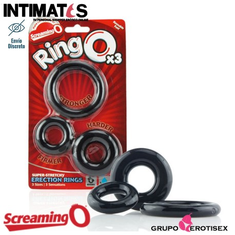 """RingO X3 · Anillos elásticos de erección · Screaming O, y que puedes adquirir en intimates.es """"Tu Personal Shopper Erótico Online"""""""