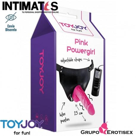 """Pink Powergirl · Arnés con dildo vibrador y braguita · ToyJoy, que puedes adquirir en intimates.es """"Tu Personal Shopper Erótico Online"""""""