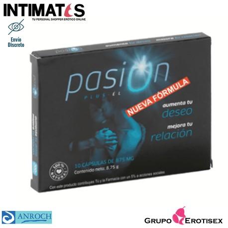 """Pasion Plus para el · Estimulante masculino natural · 10 cápsulas de 875 mg., que puedes adquirir en intimates.es """"Tu Personal Shopper Erótico Online"""""""