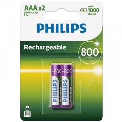 PHILIPS PILA RECARGABLE AAA HR03 800mAh BLISTER*2