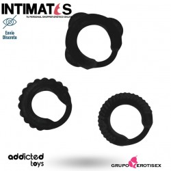 Rings set - Black · Anillos de placer para el pene · Addicted toys