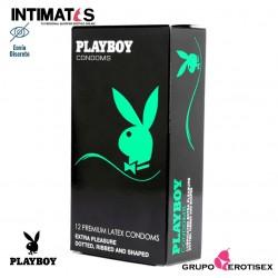 Extra Pleasure 12 uds. · Preservativos texturados y punteados · Playboy