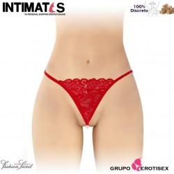 Venusina · Tanga rojo abierto con perlas nacaradas · Fashion Secret
