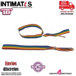 Pulsera Orgullo LGBT · Cinta con bolita y los colores emblemáticos de la bandera · Diverty Sex
