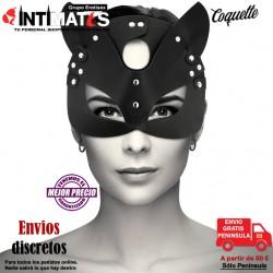 Orejas de gato · Máscara de cuero vegano · Coquette