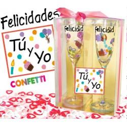 Felicidades Tú y Yo · Copas cristal y confetti · Inedit