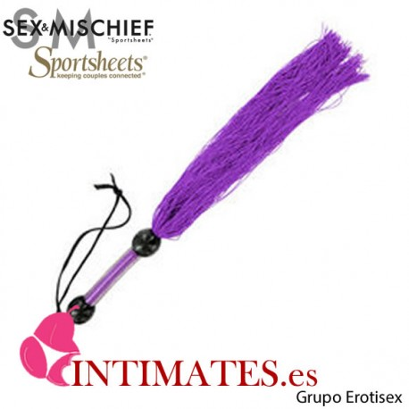 Rubber Whip Medium Purple · Látigo con tiras de goma · Sex & Mischief