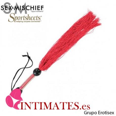 Rubber Whip Medium Red · Látigo con tiras de goma · Sex & Mischief