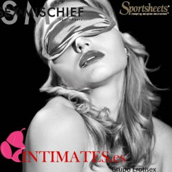 Antifaz gris satinado · Sex & Mischief