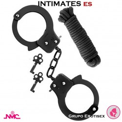 Sex Extra Negro · Esposas de metal + Cuerda · Nanma
