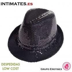 Aliv · Sombrero negro con lentejuelas · Despedidas Low Cost