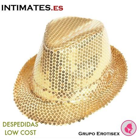 Aliv · Sombrero dorado con lentejuelas · Despedidas Low Cost