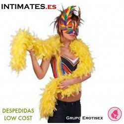 Boa con plumas de color amarillo · Despedidas Low Cost