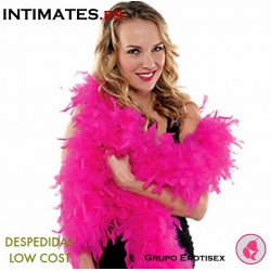 Boa con plumas de color fucsia · Despedidas Low Cost